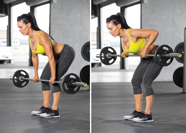 rugspieren trainen Barbell Bent Over Row